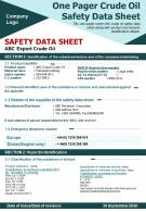 One Pager Crude Oil Safety Data Sheet Presentation Report Infographic PPT PDF Document