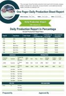 One Pager Daily Production Sheet Report Presentation Report Infographic PPT PDF Document