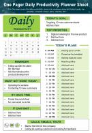 One Pager Daily Productivity Planner Sheet Presentation Report Infographic PPT PDF Document