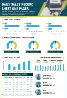 One Pager Daily Sales Record Sheet Presentation Report Infographic Ppt Pdf Document