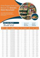 One Pager Daily Sales Report For Grocery Store Document Presentation Report Infographic PPT PDF Document