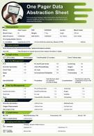 One Pager Data Abstraction Sheet Presentation Report Infographic PPT PDF Document