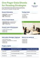 One Pager Data Sheets For Reading Strategies Presentation Report Infographic PPT PDF Document