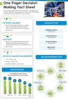 One Pager Decision Making Fact Sheet Presentation Report Infographic PPT PDF Document