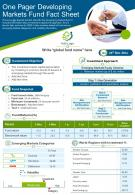 One Pager Developing Markets Fund Fact Sheet Presentation Report Infographic PPT PDF Document