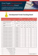 One Pager Development Funds Tracking Sheet Presentation Report Infographic PPT PDF Document
