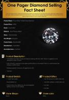 One Pager Diamond Selling Fact Sheet Presentation Report Infographic PPT PDF Document
