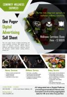 One Pager Digital Advertising Sell Sheet Presentation Report Infographic PPT PDF Document
