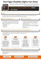 One Pager Disability Rights Fact Sheet Presentation Report Infographic PPT PDF Document