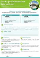One Pager Documents For Sale By Owner Presentation Report Infographic PPT PDF Document