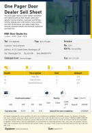 One Pager Door Dealer Sell Sheet Presentation Report Infographic PPT PDF Document