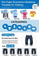 One Pager Ecommerce Bootstrap Template For Clothing Presentation Report Infographic PPT PDF Document