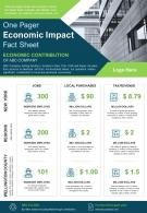 One Pager Economic Impact Fact Sheet Presentation Report Infographic PPT PDF Document