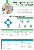 One Pager Emergency Planning Fact Sheet Presentation Report Infographic PPT PDF Document