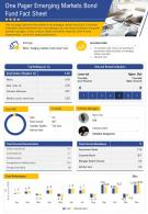 One Pager Emerging Markets Bond Fund Fact Sheet Presentation Report Infographic PPT PDF Document