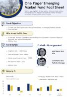 One Pager Emerging Markets Fund Fact Sheet Presentation Report Infographic PPT PDF Document