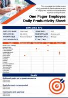 One Pager Employee Daily Productivity Sheet Presentation Report Infographic PPT PDF Document
