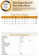 One Pager End Of Day Sales Sheet Presentation Report Infographic PPT PDF Document