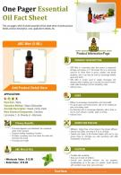 One Pager Essential Oil Fact Sheet Presentation Report Infographic PPT PDF Document