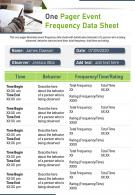 One Pager Event Frequency Data Sheet Presentation Report Infographic PPT PDF Document
