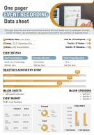 One Pager Event Recording Data Sheet Presentation Report Infographic PPT PDF Document