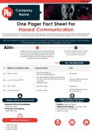 One Pager Fact Sheet For Hazard Communication Presentation Report Infographic PPT PDF Document