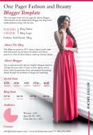 One Pager Fashion And Beauty Blogger Template Presentation Report Infographic PPT PDF Document