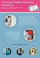 One Pager Fashion Shopping Storefront Presentation Report Infographic PPT PDF Document