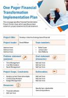 One Pager Financial Transformation Implementation Plan Presentation Report Infographic PPT PDF Document