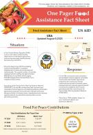 One Pager Food Assistance Fact Sheet Presentation Report Infographic PPT PDF Document