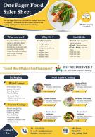 One Pager Food Sales Sheet Presentation Report Infographic PPT PDF Document
