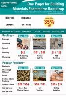 One Pager For Building Materials Ecommerce Bootstrap Presentation Report Infographic PPT PDF Document