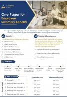 One Pager For Employee Summary Benefits Presentation Report Infographic PPT PDF Document