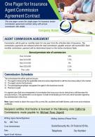 One Pager For Insurance Agent Commission Agreement Contract Presentation Report PPT PDF Document