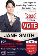 One Pager For Leadership Candidate Campaign Flyer Presentation Report Infographic PPT PDF Document