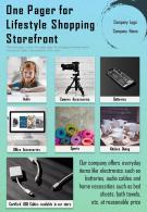 One Pager For Lifestyle Shopping Storefront Presentation Report Infographic PPT PDF Document