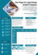 One Pager For Logo Design Graphic Company Presentation Report PPT PDF Document