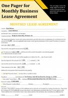 One Pager For Monthly Business Lease Agreement Presentation Report Infographic PPT PDF Document