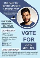 One Pager For Political Candidate Campaign Flyer Presentation Report Infographic PPT PDF Document