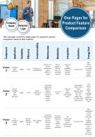 One Pager For Product Feature Comparison presentation Report Infographic PPT PDF Document