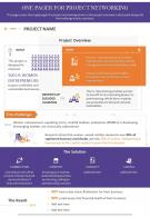 One Pager For Project Networking Presentation Report Infographic PPT PDF Document