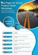 One Pager For Scrum Product Vision Worksheet Presentation Report Infographic PPT PDF Document