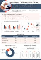 One Pager Fund Allocation Sheet Presentation Report Infographic PPT PDF Document