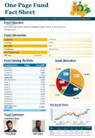One Pager Fund Fact Sheet Presentation Report Infographic PPT PDF Document