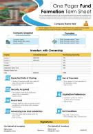 One Pager Fund Formation Term Sheet Presentation Report Infographic PPT PDF Document