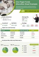 One Pager Funds Allocation Sheet Example Presentation Report Infographic PPT PDF Document