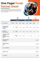 One Pager Funds Tracker Sheet Presentation Report Infographic PPT PDF Document