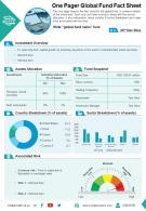 One Pager Global Fund Fact Sheet Presentation Report Infographic PPT PDF Document