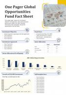 One Pager Global Opportunities Fund Fact Sheet Presentation Report Infographic PPT PDF Document