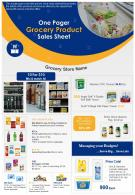One Pager Grocery Product Sales Sheet Presentation Report Infographic PPT PDF Document
